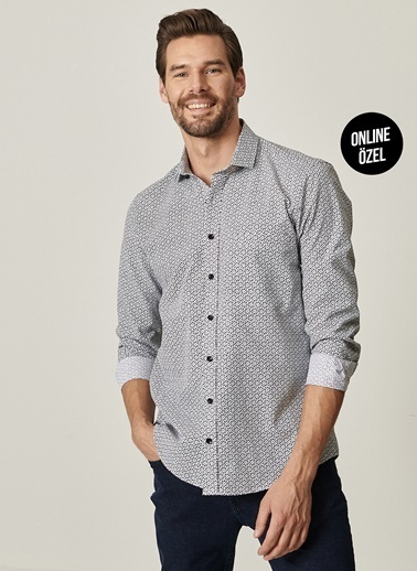 Altınyıldız Classics Tailored Slim Fit Dar Kesim Küçük İtalyan Yaka Baskılı Gömlek 4A2021100058 Siyah